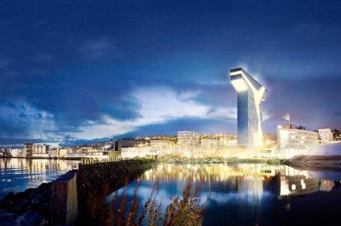 T-HOTELLET: Slik blir Tromsøs nye landemerke seende ut fra sjøsiden, hvis Snøhetta arkitektkontor og Arthur Buchardt får det som de vil.