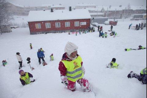 Hva skjer når du gir flere hundre barnehageunger nysnedd sne og farger - og slipper dem løs?