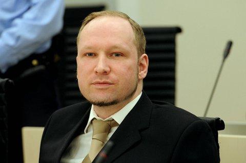 Anders Behring Breivik under rettssaken mandag.