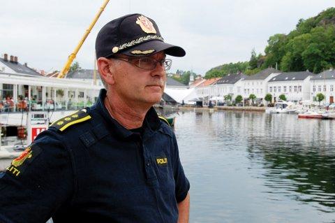 Politistasjonssjef Odd Holum ved Risør politistasjon.