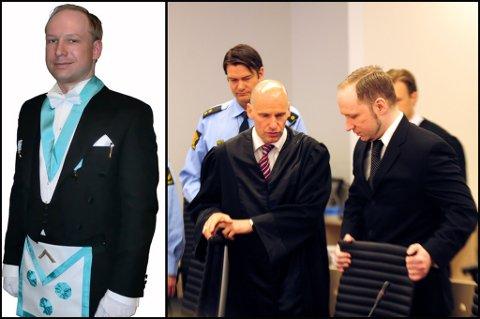 I manifestet la Anders Behring Breivik ut dette bildet av seg selv i frimureruniform. I retten torsdag, valgte terroristen å droppe den høyreekstreme hilsningen han tidligere har brukt.