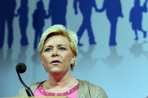 Siv Jensen på Frps landsmøte på Gardermoen fredag.