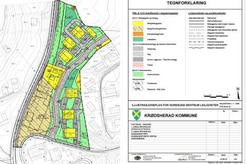 Illustrasjonsplanen viser de tre første boligene (L1, L2 og L3) som utgjør byggetrinn én, og L4 og L5 som er andre byggetrinn. De to nordligste byggene, L6 og L7, er under en annen utbygger og har en lengre tidshorisont.