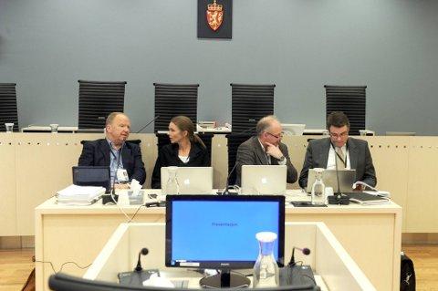Det har vært mange vitner under fredagens rettssak mot Anders Behring Breivik. Her er fra venstre rettspsykiaterne Torgeir Husby, Synne Sørheim, Terje Tørrissen og Agnar Aspaas.