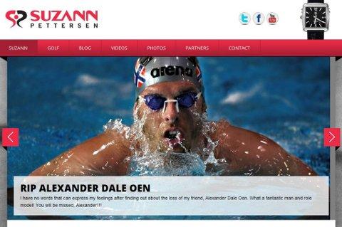 Suzann Pettersen tok dødsfallet til Alexander Dale Oen svært tungt, og valgte å hylle han med en bildekarusell på sin hjemmeside.