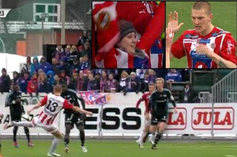 Zdenek Ondrasek banker inn 1-0 til Tromsø mot Vålerenga.