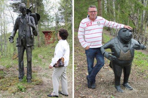 Lilly Hoftun (bildet til venstre) var en av mange som lot seg begeistre av Tom Berres skulpturer som er på plass på Lauvlia fra denne sesongen. Denne skulpturen av fillefransen har tittelen ?Kunstneren?. Nils Haavard Tronrud er veldig imponert over utstillingene på Lauvlia og synes det er et fantastisk flott sted. På bildet til høyre ser vi ham sammen med den nye skulpturen ?Snippkjolen?.