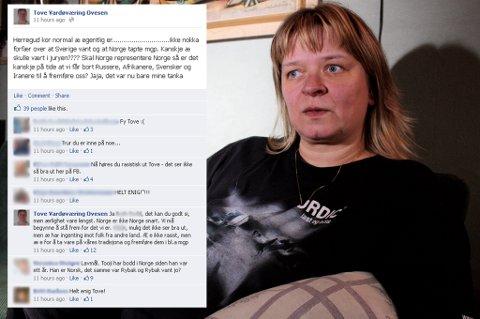 AKTIV PÅ FACEBOOK: Tove Ovesen skapte engasjement på Facebook lørdag kveld.