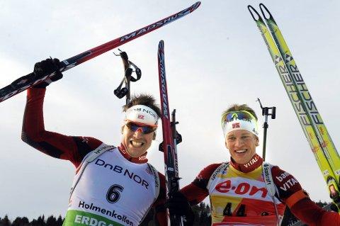 Emil Hegle Svendsen (til venstre) og Tarjei Bø kan glede seg til VM på hjemmebane i 2016.