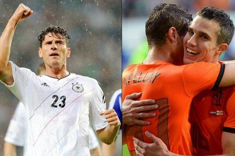 Mario Gomez og Robin van Persie ønsker nok mer enn noen å vinne EM. Kanskje blir det disse toppscorerne som gjør at Nederland og Tyskland vinner på Spanias bekostning.
