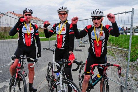 Frode Thomassen (41) (t.v.), Johnny Fagerås (46) og Jan-Erik Hansen. (30)