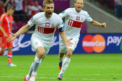 "Jakub ""Kuba"" Blaszczykowski feirer sin fantastiske 1-1-scoring mot Russland."