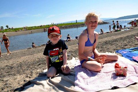 FRA BRUMUNDDAL: Emil og Nora Amundsen fra Brumunddal er på Koigen så ofte de kan om sommeren. De har med seg jordbær, grill og leker.