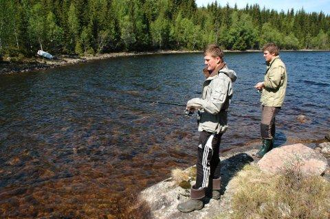 HERSJØEN: Magnus Reinsby Gihle (t.v.) og Vegard Vingebakken er på jakt etter gjedde som går inn på grunna i Hersjøen for å «sole seg».