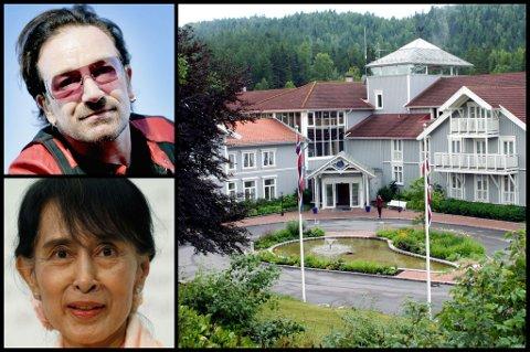 STORFINT BESØK: Oslo Forum avholdes på Losby Gods. Der skal blant andre U2-stjernen Bono og fredsprisvinner Aung San Suu Kyi møtes.