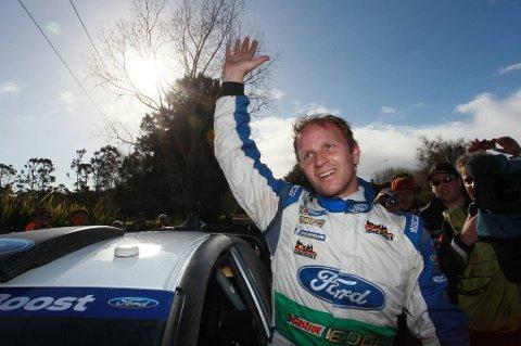 Petter Solberg er fornøyd med pallplass i New Zealand.