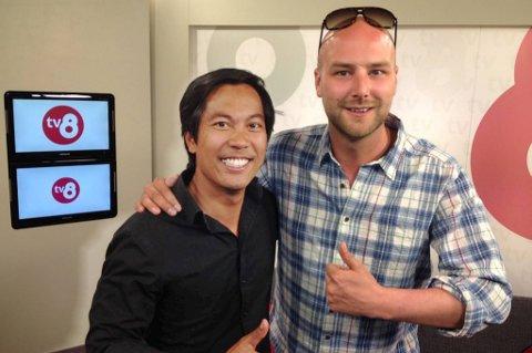 Philip Thoresen sammen med sin noe mer kjente TV-kollega Christian Strand.