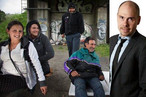 TRANGE KÅR: Romfolk under Sandnessundbrua i Tromsø. At vi, de rikeste, viser omsorg for de fattigste, skulle bare mangle, skriver sjefredaktør Anders Opdahl.
