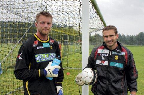 HARDKJØR: Lasse Staw fikk en tøff økt med LSKs keepertener Tom Albertsen før han skrev under kontrakt med klubben. FOTO: PER KRISTIAN TORVIK