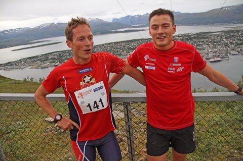 Eirik D. Haugsnes og Finn Hågen Krogh spurtet opp til Fjellheisen. Haugsnes trakk det lengste strået.