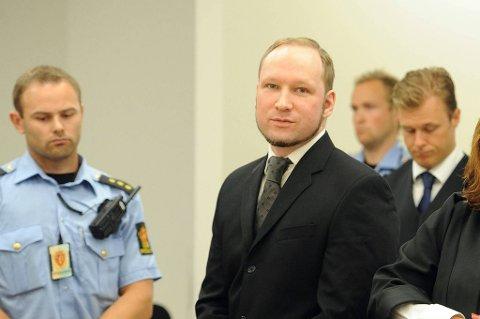 Anders Behring Breivik i Oslo tingrett, minutter før han fikk dommen.