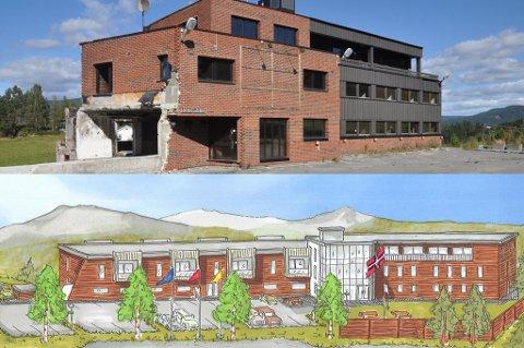 Øverst ser du hvordan gamle Bergland hotell ser ut i dag, og nederst kan du se hvordan det bli på Bergland dersom planene blir gjennomført.