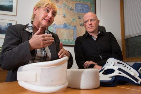 SKAL I RETTEN: Anniken Annexstad og advokat Per J. Olsen kjemper mot forsikringsselskapet If. Til tross for godt dokuemterte nakkeskader etter en trafikkulykke , vil ikke forsikringsselskapet utbetale erstatning. De mener Annexstad uansett ville blitt ufør.