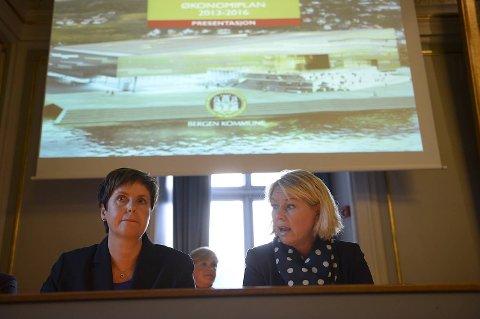 Finansbyråd Liv Røssland (Frp) og byrådsleder Monica Mæland (H) la frem budsjettforslaget mandag.