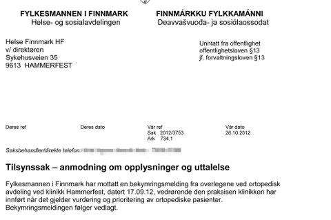 Faksimile: Fylkeslege Karin Straume har bedt klinikk Hammerfest redegjøre for overlegenes bekymring.