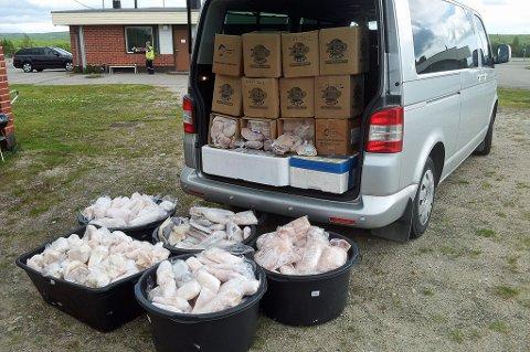 Her er ett beslag av turistfiske Tollvesenet gjorde sommeren 2012 i Kivilompolo som ligger ca. 4 mil fra Kautokeino og inne i Finland.