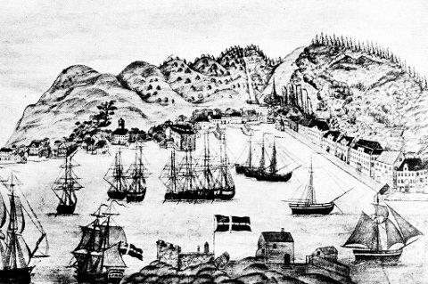 Risør byvåpen er hentet fra festningsanlegget på Holmen, som er i forkant på denne tegningen.