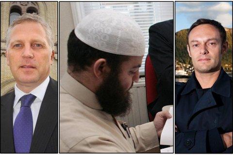 - KANSELLER BILLETTEN: Frps Øyvind Korsberg (bilde venstre) og SVs Torgeir Knag Fylkesnes (bilde høyre) er begge enige om at den kontroversielle islamske predikanten Haitham al-Haddad (midten) ikke er ønsket i Tromsø.