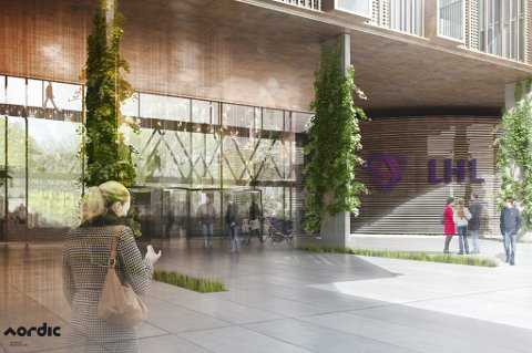 FORELØPIG ILLUSTRASJON: Slik kan sykehuset på Gardermoen bli. Arkitekt MNAL Johannes Eggen/Nordic Office of Architecture