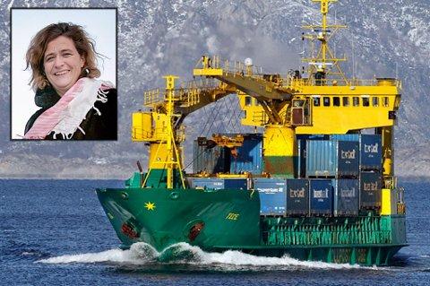 FOR GAMMEL: MS Tege, som har fraktet gods fra Nordlandsbanen og nordover i snart 30 år, er moden for utskifting. Tollpost Globe vil ikke ta regninga med bestilling av nytt skip. Dermed kan godsruta til sjøs være en saga blott fra 1. oktober. Det synes styreleder Adrianne Ubeda i NHO Logistikk og Transport region Nord-Norge er synd.