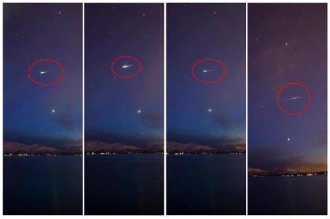 HVA ER DETTE?: Hobbyfotograf fanget disse bildene av et eller flere objekter som dukket opp på samme stede over Tromsø natt til tirsdag. Nå strides de lærde og ulærde om hva dette er.