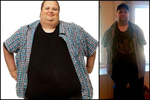 EN NY START: På det meste stoppet vekten på 279 kilo. Nå er Sten Arne Bryde Brunsby 90 kilo lettere.  Foto: May B. Langhelle/TvNorge og privat.