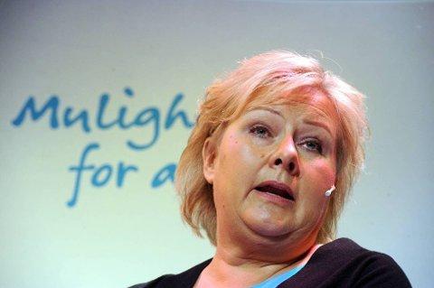 TILBAKE: I en av de siste målingene før valgdagen går Høyre, med Erna Solberg i spissen, mest tilbake.