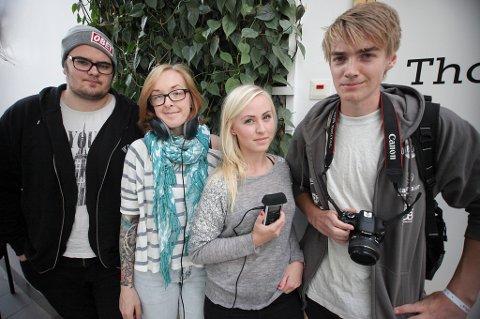 Ventus-journalistene Ole-Fredrik Lambertsen (20), Marthe-Lise Lein (27), Vilde Jansen (19) og Benjanmin Fredriksen (19) er skuffet over at statsministeren ikke tok seg tid til å snakke med UiN-studentene.