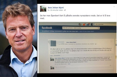 FIKK NAZITRUSSEL: En svensk nynazist har publisert et trusselbrev på Tromsø-ordfører Jens Johan Hjorts Facebook-side.