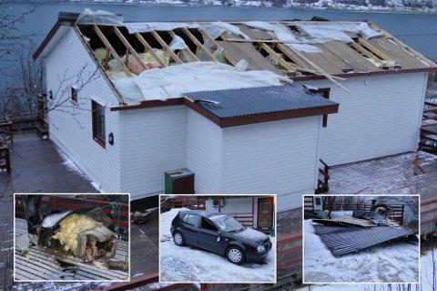 STORE SKADER: Slik er skadene etter gårsdagens storm for Stein-Harald Enoksen i Gryllefjord
