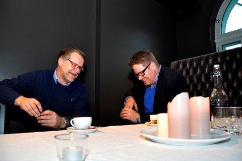 Jan Erik Gjerdbakken i Ringerike næringsforum og Jørgen Moe i Ringerike utvikling har forskjellige oppgaver for forskjellige aktører, men samles ofte om ett standpunkt.