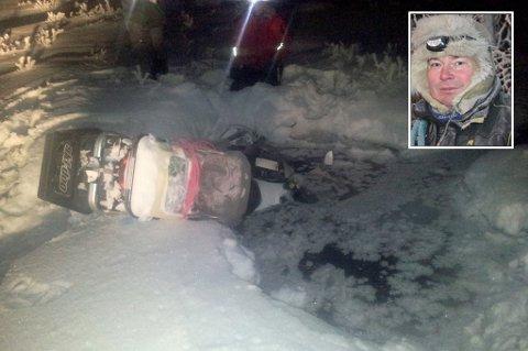 BERGET KOMPISEN:  Reineier Nils Henrik Anti oppdaget at kollegaen hadde kjørt rett ned i et isvann på vidda. - Han var stivfrossen.