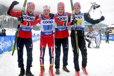 Eivind Krane Heimda (f.v.), Eirik Sverdrup Augdal, Petter Reistad og Johan Hoel fikset gull for Norge.