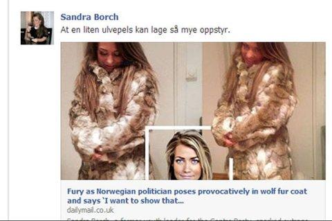 OMTALES I UTLANDET: Sandra Borchs ulvepels omtales nå i Daily Mail. Selv skjønner hun ikke alt oppstyret.