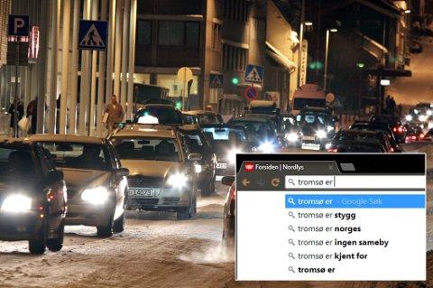 TROMSØ I ET NØTTESKALL: Glem ishavskatedralen, brua og nordlyset. Dette er Tromsø kjent for: Trafikkaos. Det er selvsagt fordi vi selv snakker mer om trafikkaos enn Ishavskatedralen, brua og nordlyset. Foto: Ole Åsheim