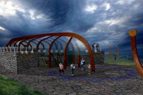 VIKINGSKIP: Slik ser prosjektleder Nina Dons-Hansen for seg at vikingstedet på Bjarkøy kan se ut innen fem år. Visualisering: Alvin Jensvold, 3D-tegning: Esten og Benoni Jensvold