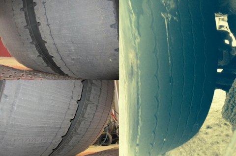 SJOKKERT: Dekkene på de to bildene til venstre sto på en lastebil som ble kontrollert av Statens vegvesen i Fauske i år. Dekket til høyre ble funnet på et vogntog kontrollert i Nordkjosbotn.