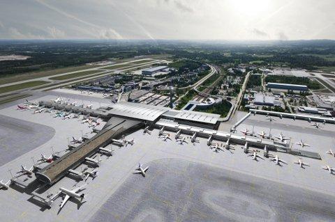 SLIK BLIR DET: Illustrasjonen viser totaloversikten over hvordan Oslo Lufthavn vil se ut når utbyggingen er ferdig i april 2017. Bla deg videre i bildeserien for å se detaljene!