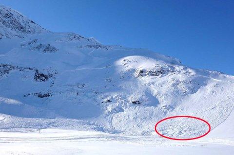 Skredet var ca. 400 m bredt. Funnsted er i høyre kant hvor fallhøyden er ca. 50 høydemeter. I venstre del er fallhøyden ca. 300 høydemeter, og skredet gikk ca. 400 m utover flatt terreng