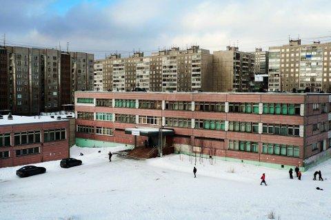Her er Gymnas nummer 1 i Murmansk, som huser den norsk-russiske videregående skolen.